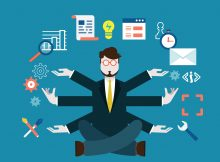Human resources and self-development. Modern business - vector illustration