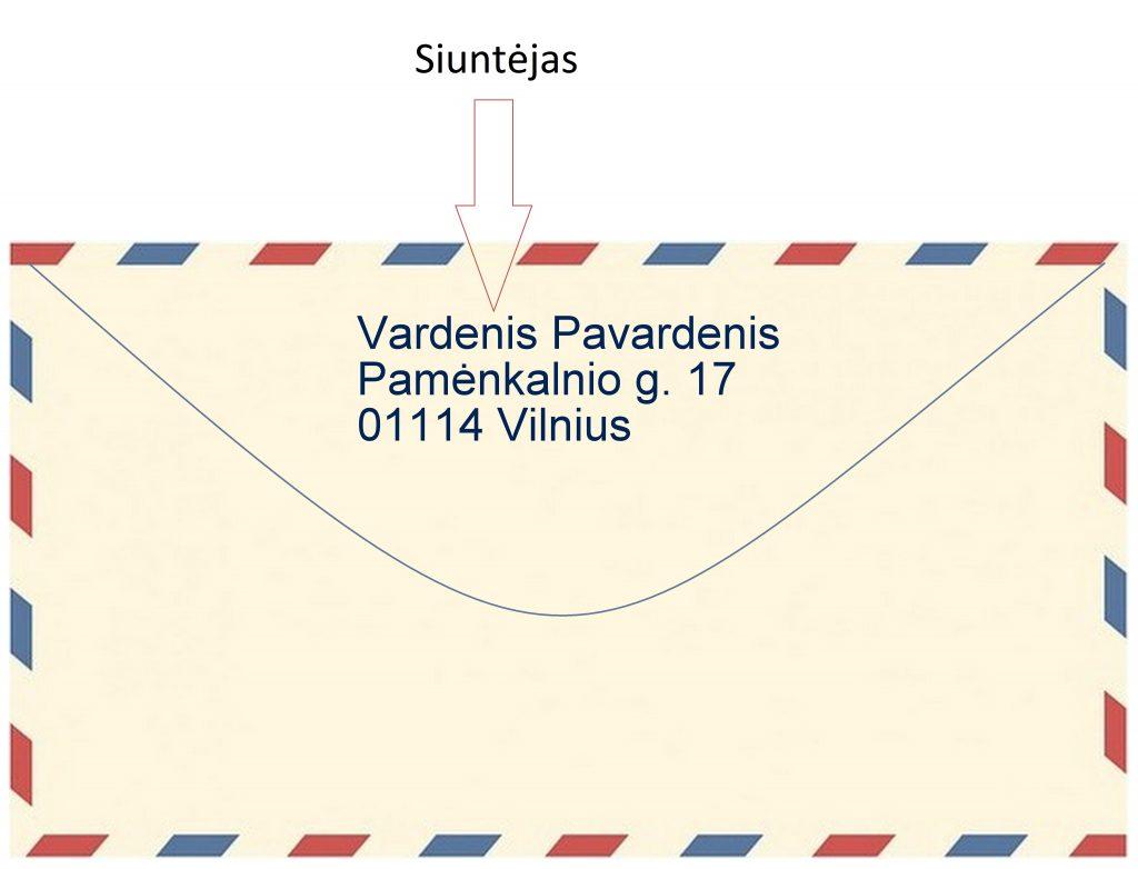 kaip teisingai rašomas adresas ant voko Lietuvoje